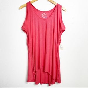 Planet Blue Cold Shoulder Ribbed Pink Top Small